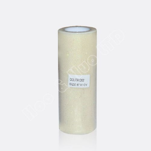 "Ivory Glitter Tulle Roll 6"" X 10 Y / D02"